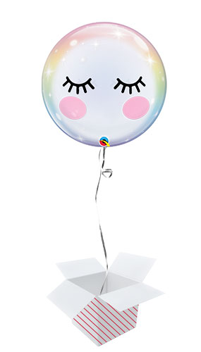 Eyelashes Bubble Helium Qualatex Balloon - Inflated Balloon in a Box