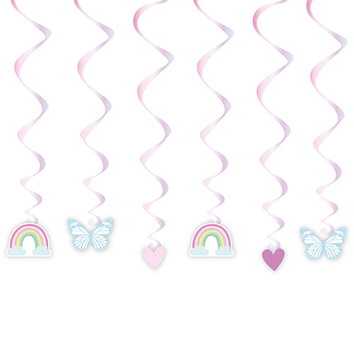 Fairy Princess Hanging Swirl Decorations - Pack of 6