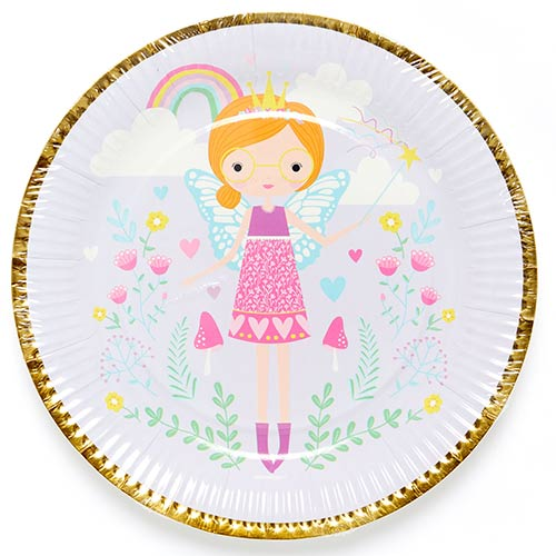 Fairy Princess Round Paper Plates 23cm - Pack of 8