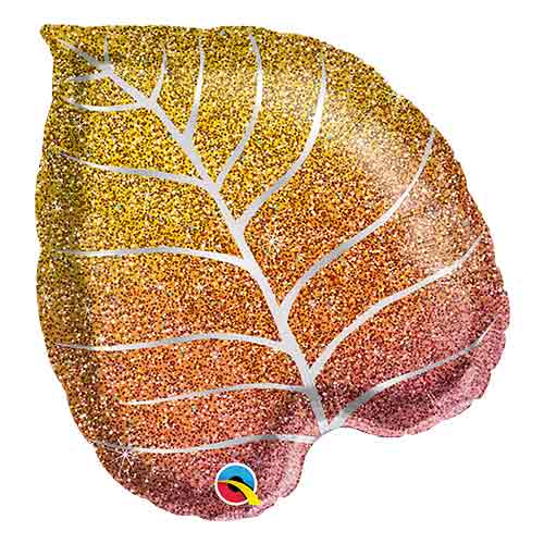 Fall Glittergraphic Ombre Leaf Shape Helium Foil Qualatex Balloon 53cm / 21 in Product Image