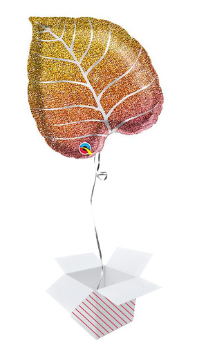 Fall Glittergraphic Ombre Leaf Shape Helium Foil Qualatex Balloon - Inflated Balloon in a Box