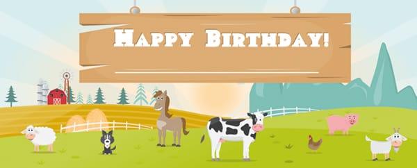 Farm Animals On The Field Happy Birthday Design Medium Personalised Banner - 6ft x 2.25ft