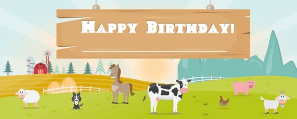 Farm Animals On The Field Happy Birthday Design Small Personalised Banner - 4ft x 2ft