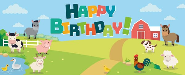 Farm Animals On The Hill Happy Birthday Design Medium Personalised Banner - 6ft x 2.25ft
