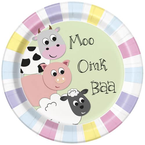 Farm Animals Round Paper Plates 22cm - Pack of 8 Bundle Product Image
