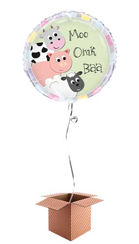 Farm Animals Round Foil Balloon - Inflated Balloon in a Box Product Image