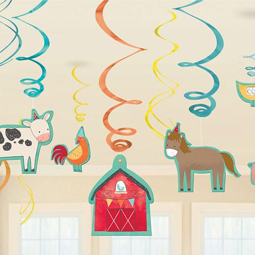 Farm Barnyard Hanging Swirl Decorations - Pack of 12
