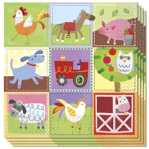 Farm Friends Party Luncheon Napkins 33cm 2Ply - Pack of 16 Bundle Product Image