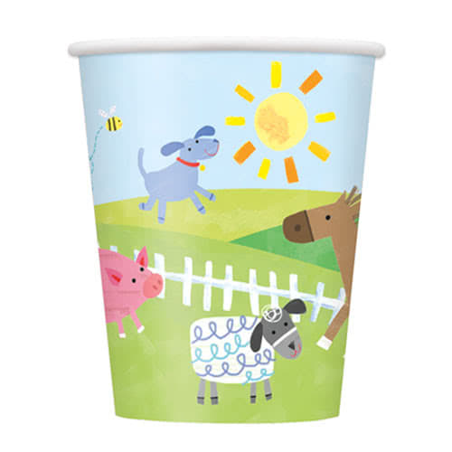 Farm Friends Party Paper Cups 270ml - Pack of 8 Product Image