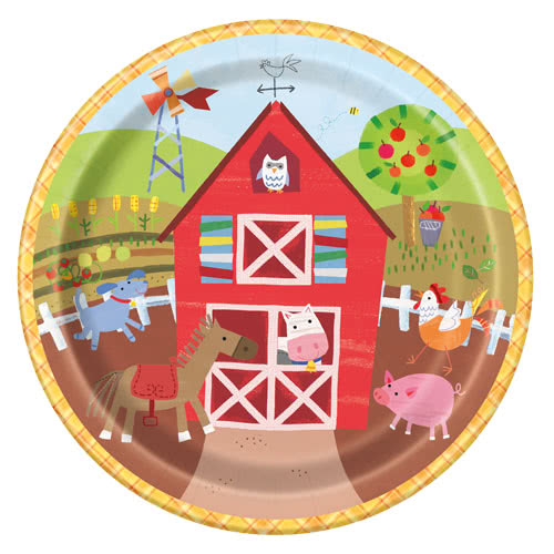 Farm Friends Party Round Paper Plates 22cm - Pack of 8 Bundle Product Image