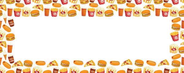 Fast Food Burger Hot Dog Pizza Design Medium Personalised Banner - 6ft x 2.25ft
