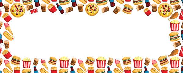 Fast Food Drinks Popcorn Ice Cream Design Medium Personalised Banner - 6ft x 2.25ft