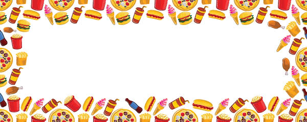 Fast Food Ice Cream Burger Milkshake Design Medium Personalised Banner - 6ft x 2.25ft