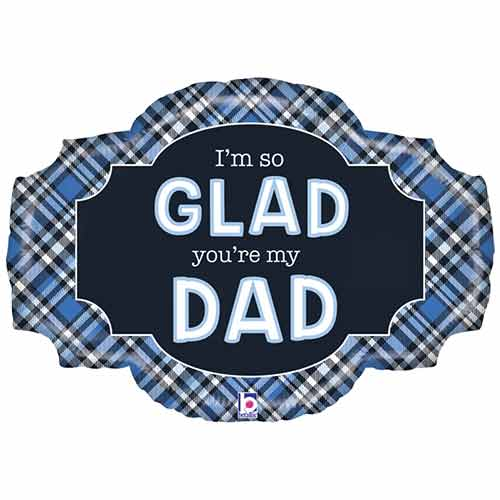 Father's Day Plaid Two-Sided Helium Foil Giant Balloon 81cm / 32 in Product Gallery Image