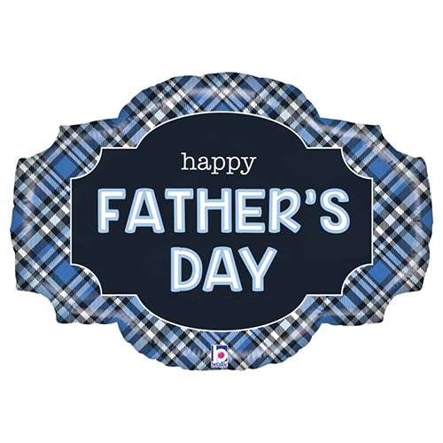 Father's Day Plaid Two-Sided Helium Foil Giant Balloon 81cm / 32 in