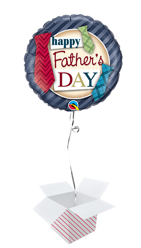 Father's Day Ties Round Foil Helium Qualatex Balloon - Inflated Balloon in a Box Product Image