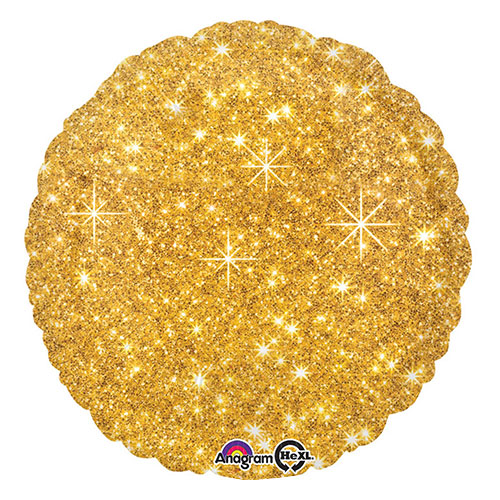 Faux Sparkle Gold Round Foil Helium Balloon 43cm / 17 in