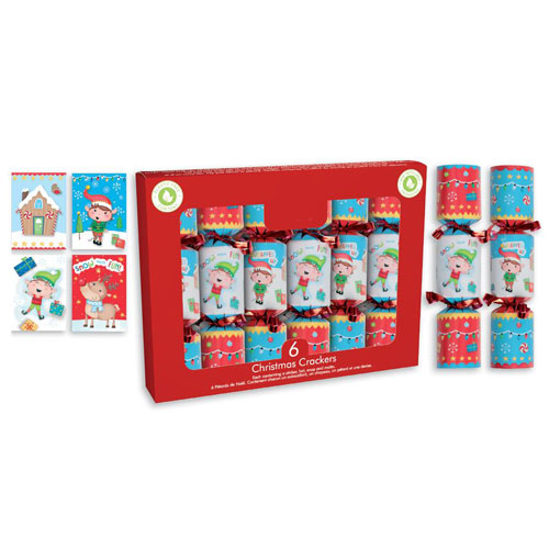 Festive Elves Christmas Crackers 15cm / 6 in - Pack of 6