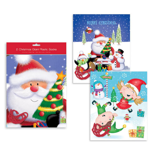 Assorted Festive Fun Giant Plastic Christmas Sacks 75cm - Pack of 2 Product Image