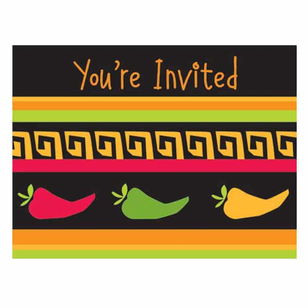 Fiesta Grande Invitations with Envelopes - Pack of 8