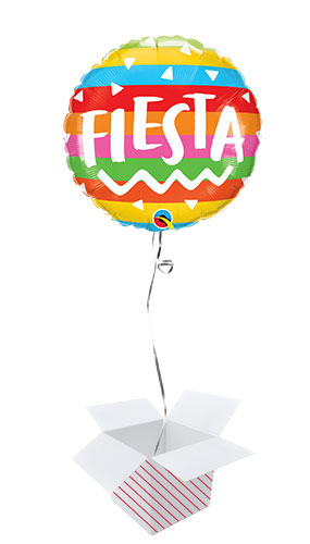 Fiesta Rainbow Stripes Round Foil Helium Qualatex Balloon - Inflated Balloon in a Box