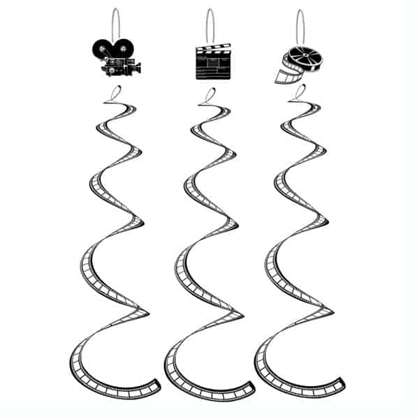 Filmstrip Whirls Hanging Decoration - 30 Inches / 76cm - Pack of 3 Product Image
