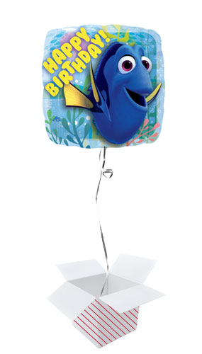 Finding Dory Happy Birthday Square Foil Helium Balloon - Inflated Balloon in a Box