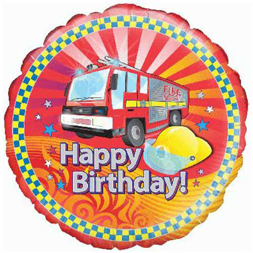 Fire Engine Birthday Round Foil Helium Balloon 46cm / 18 in Product Image
