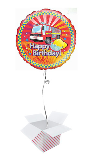 Fire Engine Birthday Round Foil Helium Balloon - Inflated Balloon in a Box Product Image