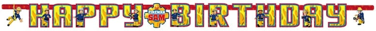 Fireman Sam Happy Birthday Cardboard Jointed Letter Banner 180cm