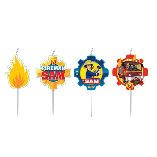 Fireman Sam Pick Candles - Pack of 4