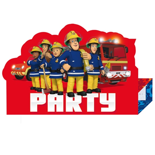 Fireman Sam Stand-Up Invitations with Envelopes - Pack of 8