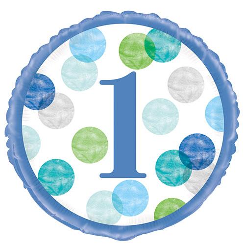 First Birthday Boy Blue Dots Round Foil Helium Balloon 46cm / 18 Inch