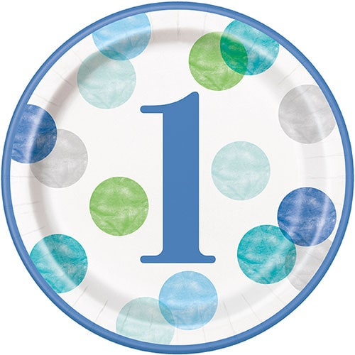 First Birthday Boy Blue Dots Round Paper Plates 22cm - Pack of 8