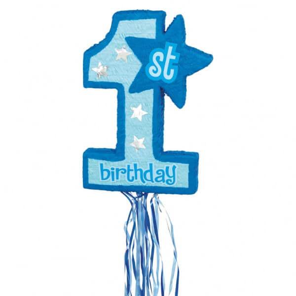 First Birthday Blue Pull String Pinata
