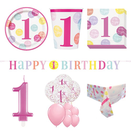 First Birthday Girl 16 Person Deluxe Party Pack Product Image