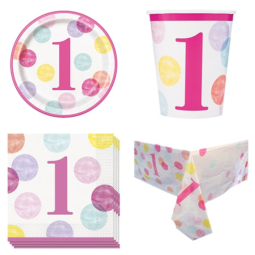 First Birthday Girl 8 Person Value Party Pack