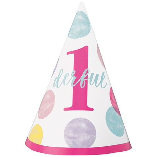 First Birthday Girl Pink Dots 1Derful Party Cone Hat