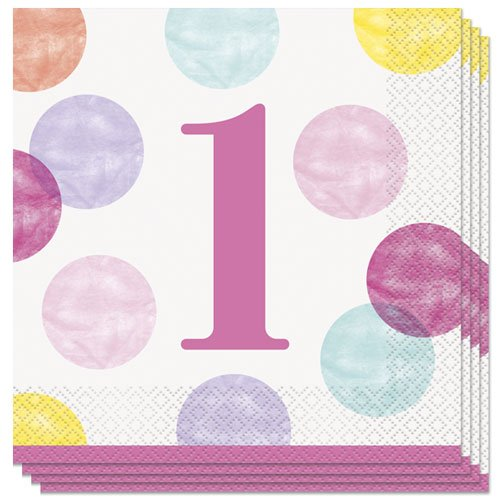 First Birthday Girl Pink Dots Luncheon Napkins 33cm 2Ply - Pack of 16 Bundle Product Image
