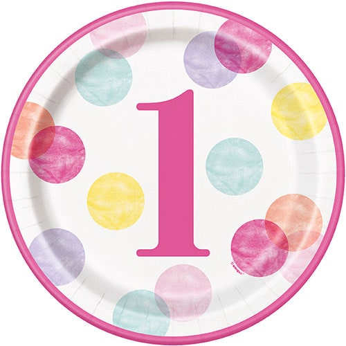 First Birthday Girl Pink Dots Round Paper Plates 22cm - Pack of 8 Bundle Product Image