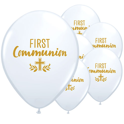 First Communion Cross Latex Helium Qualatex Balloons 28cm / 11 in - Pack of 25 Product Image