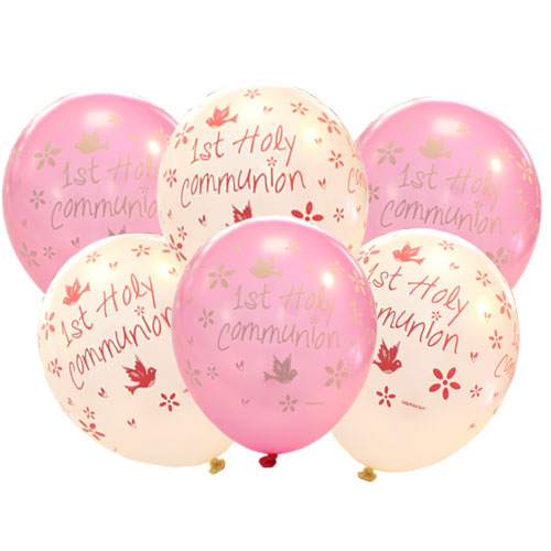 First Holy Communion Pink Printed Assorted Latex Helium Balloons 27cm / 11Inch - Pack of 6 Product Image