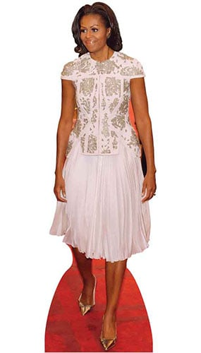 First Lady Michelle Obama In White Dress Lifesize Cardboard Cutout - 189 cm Product Image