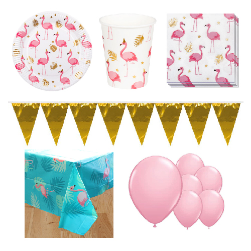 Flamingo Gold 6 Person Deluxe Party Pack