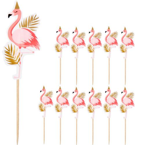 Flamingo Gold Foil Food Cocktail Picks - Pack of 12