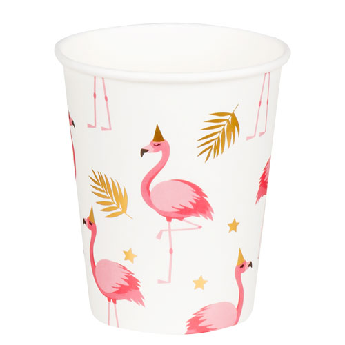 Flamingo Gold Foil Paper Cups 250ml - Pack of 6