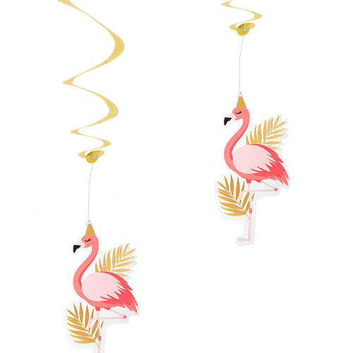 Flamingo Gold Hanging Foil Swirl Decorations - Pack of 2 Product Image