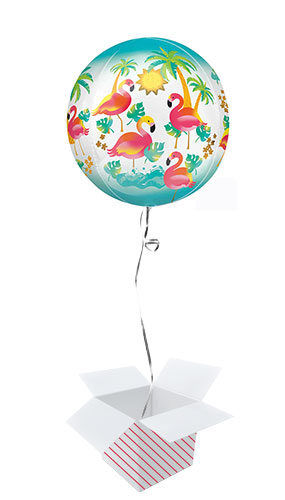 Flamingo Orbz Foil Helium Balloon - Inflated Balloon in a Box