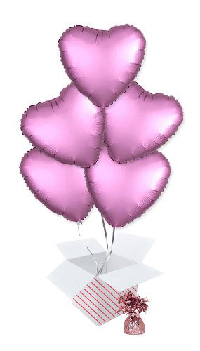 Flamingo Pink Satin Luxe Heart Foil Helium Balloon Bouquet - 5 Inflated Balloons In A Box Product Image