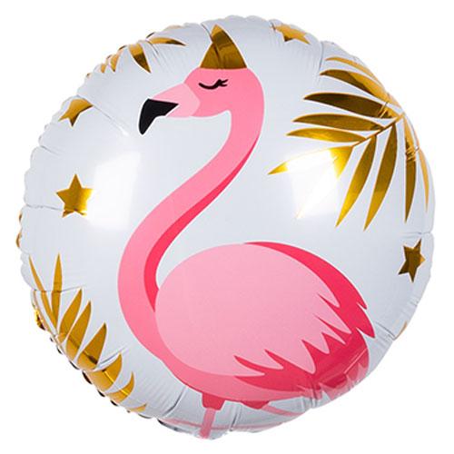 Flamingo Round Foil Helium Balloon 45cm / 17 in Product Image